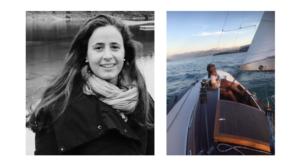 Split photo on We Shape Tech website: on left side black-and-white portrait photo of role model Paloma Bosco, on right side Paloma on sailing vessel