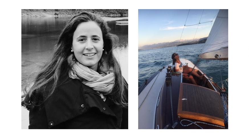 Split photo on We Shape Tech website: on left side black-and-white portrait photo of role model Paloma Bosco, on right side Paloma on sailing vessel