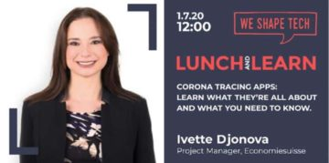 Event ad cover of Lunch & Learn Webinar on Corona Tracing Apps by Ivette Djonova