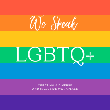 """Rainbow background with text """"we speak LGBTQ"""" Tips to Be More Inclusive in Our Language"""